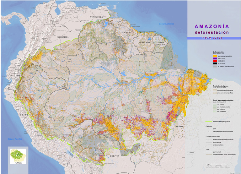 Map of historic deforestation in the Amazon basin