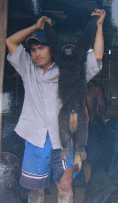 Migrant campesino with hunted male yellow-tailed woolly monkey (Oreonax flavicauda). Photo by Anne DeLuycker