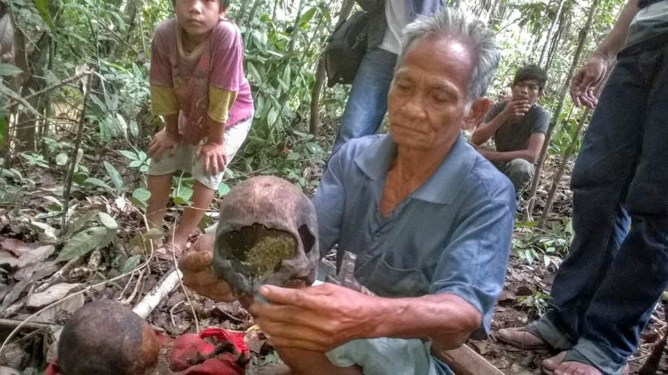 Andreas Singko, a Tae resident, handles the centuries-old skull of his ancestor during a sumpah adat in 2014. Photo courtesy of Land is Life