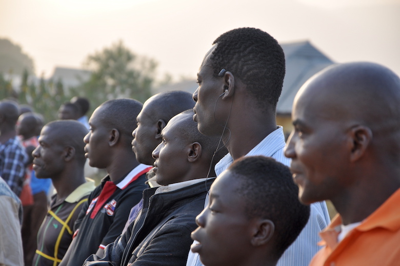 Spectators watch a football match organized by the Gashaka Biodiversity Project last February in Serti, Nigeria, where Gashaka-Gumti National Park's headquarters are located. Photo by Lawal Sani Kona.