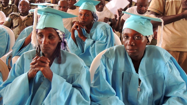 Graduates await their diplomas after completing a workshop on toiletry making that the UK-Based Chester Zoo and the National Park have run to help locals find ways to make a sustainable living. The Gashaka Biodiversity Project plans to continue the workshops. Photo by Lawal Sani Kona.