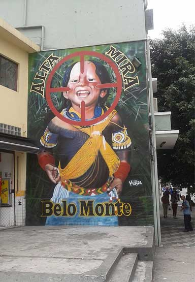 Belo Monte Indigenous people in the cross hairs of the Belo Monte Dam. A protest mural created by the artist Kobra, in the city of São Paulo. Photo by Sturm licensed under the Creative Commons Attribution-Share Alike 4.0 International license