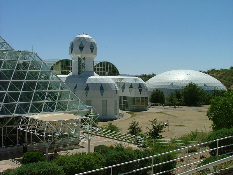 View of Biosphere 2, Habitat & Lung. The habitat is where the crew lived during the mission. The lung is what maintains air pressure inside the structure. Photo by Dr. Starbuck, Wikimedia Commons, CC by 2.0