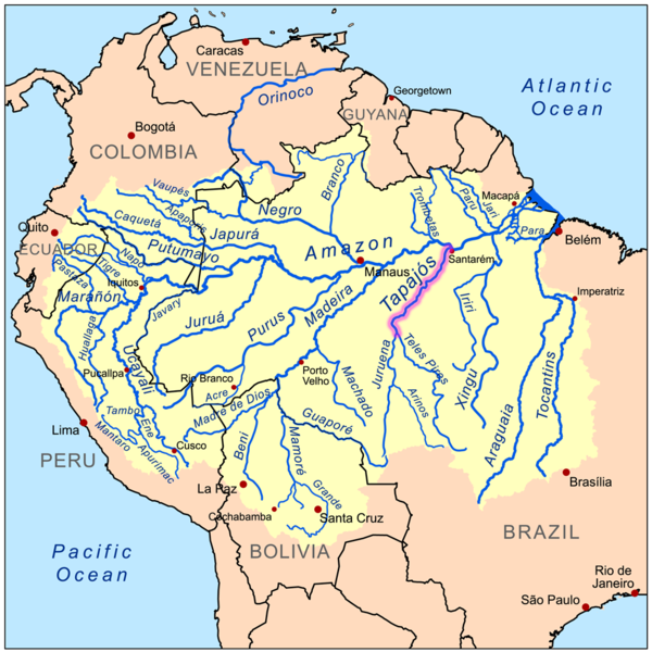 Seven major dams are planned for the Tapajós Basin (3 on the Tapajós River and 4 on its tributary the Jamanxim River). They would generate a combined total of 16,152 megawatts of electricity and create reservoirs covering 302,174 hectares (1,162 square miles). If built, the São Luiz do Tapajós dam — the largest of the seven — would have a maximum generating capacity of 8,040 megawatts and a reservoir of 72,225 hectares (278 square miles) — part of it flooding Munduruku territory.  Also planned for the Tapajós River are the Jatobá dam, generating 2,338 megawatts with a reservoir of 64,629 hectares (249 square miles); and Chacorão dam, 3,336 megawatts and a reservoir of 61,620 hectares (237 square miles). The four planned dams on the Jamanxim River include: the Cachoeira do Caí dam, 802 megawatts and a reservoir of 42,000 hectares (162 square miles); Jamanxim dam, 881 megawatts and a lake of 7,440 hectares (28 square miles); the Cachoeira dos Patos dam, 528 megawatts and a reservoir of 11,650 hectares (44 square miles); and the Jardim do Ouro dam, 227 megawatts with a lake of 42, 610 hectares (164 square miles). Map by Kmusser licensed under the Creative Commons Attribution-Share Alike 3.0 Unported license