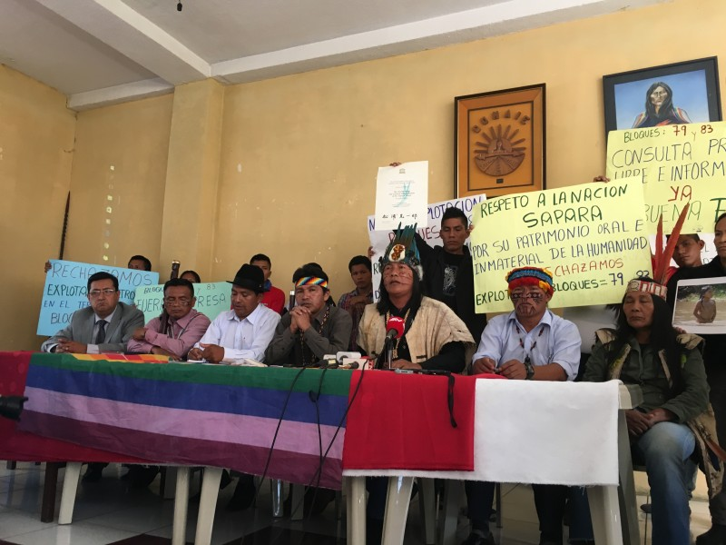 Sápara indigenous leaders meet in Quito to protest government plans to drill oil in their territory. Photo courtesy of Isabel Riofrio.