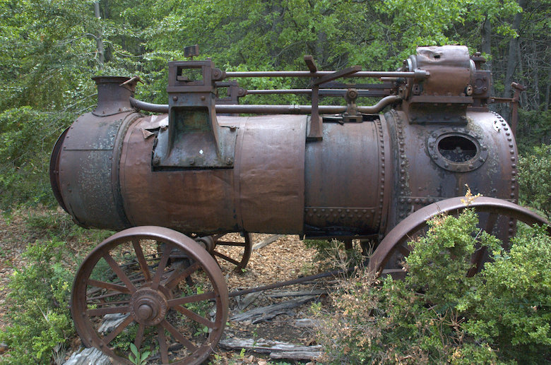 An abandoned mobile, steam-powered sawmill in the forests of central Chile. Photo by Robert Heilmayr.