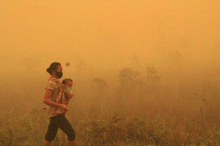Indonesia on fire, October 16, 2015. The fires there were blamed on a record El Nino drought that was intensified by climate change, along with forest clearance for industrial agriculture. An image posted on Twitter purporting to show the smoke-choked city of Palangkaraya.