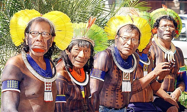 Indigenous Brazilian chiefs from the Kaiapos tribe livinf in the Xingu River basin, where the controversial Belo Monte dam has just been completed. Indigenous groups across South America would likely see their lifestyles and livelihoods impacted by IIRSA projects funded by BNDES. Photo by Valter Campanato, courtesy of Agência Brasil