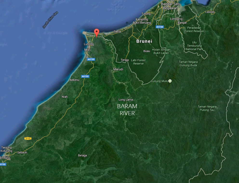 Google Earth image showing the Baram river as it winds through Sarawak in Malaysian Borneo.