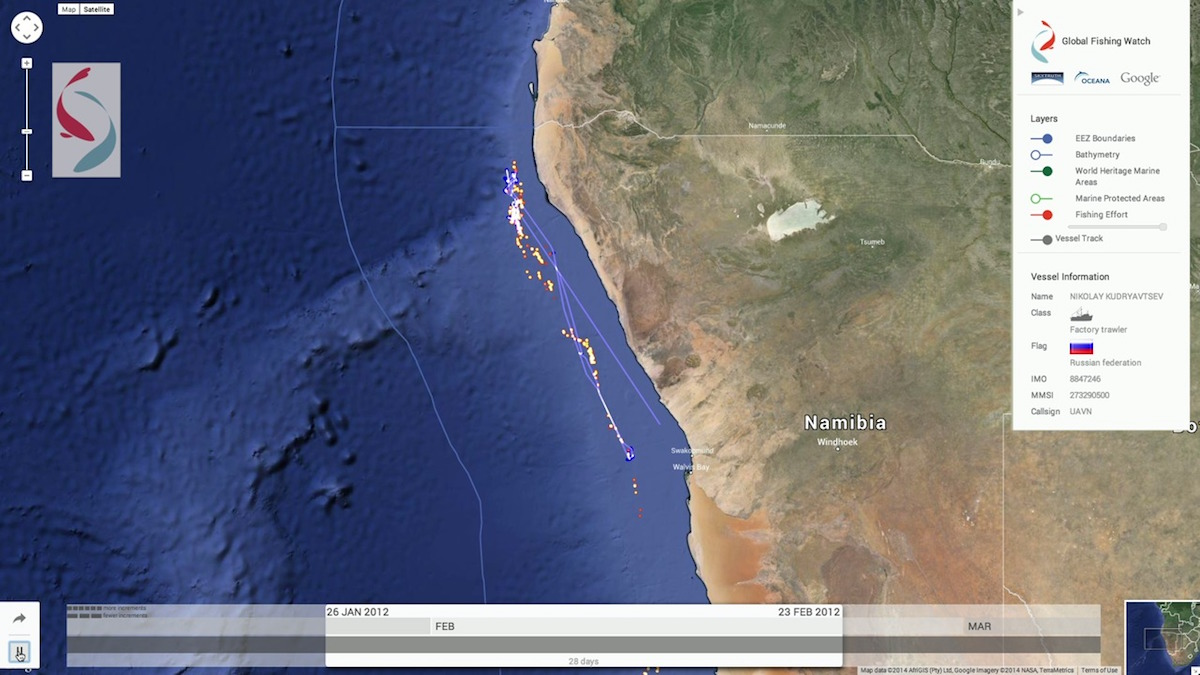 Image based on satellite data shows the track of a Russian trawler off the coast of Namibia. Image courtesy of SkyTruth and Global Fishing Watch.