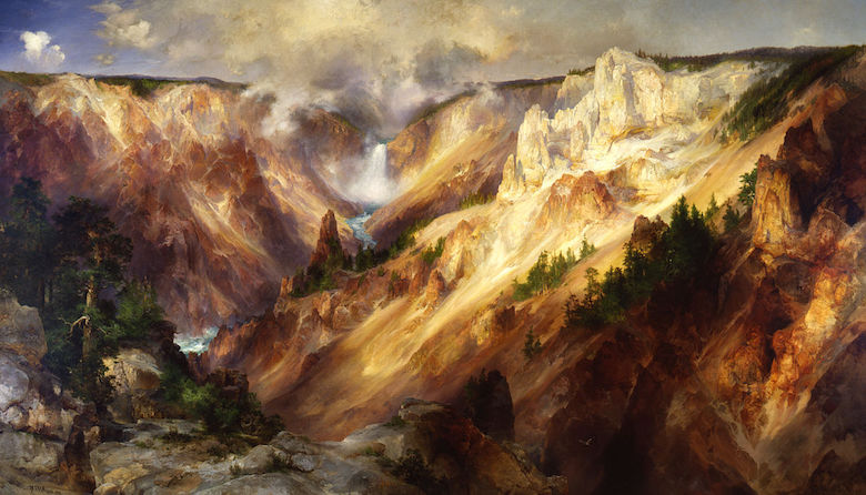 The Grand Canyon of the Yellowstone, by Thomas Moran. Completed in 1901. Image courtesy of Smithsonian American Art Museum, Gift of George D. Pratt / Wikimedia Commons.