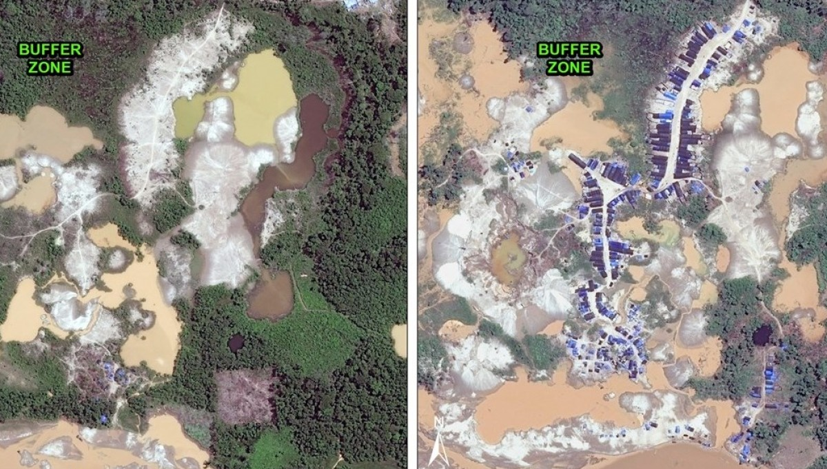 Since November 2015, a major mining camp has been established within Tambopata National Reserve's buffer zone. Data from WorldView-2 de Digital Globe (NextView); image courtesy of MAAP.