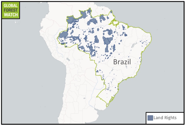 Areas in Brazil where indigenous peoples have gained legal land rights. Image courtesy of Global Forest Watch with data from Fundação Nacional do Índio (FUNAI).