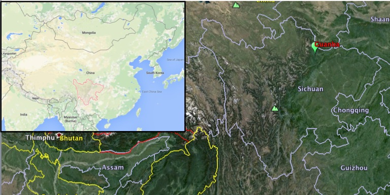 Map shows the location of Guanba in Sichuan province. (Inset shows Sichuan province in China.) Map courtesy of Google Maps and Google Earth.