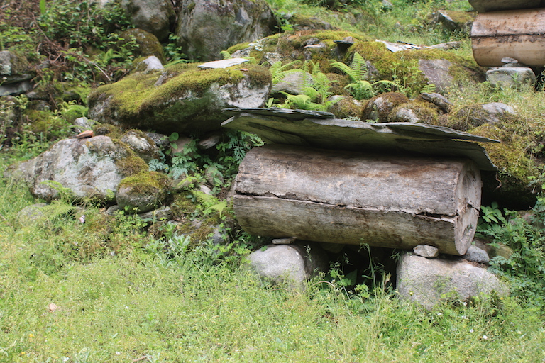 A traditional beehive made of a tree trunk in Guanba valley. Photo by Wang Yan.