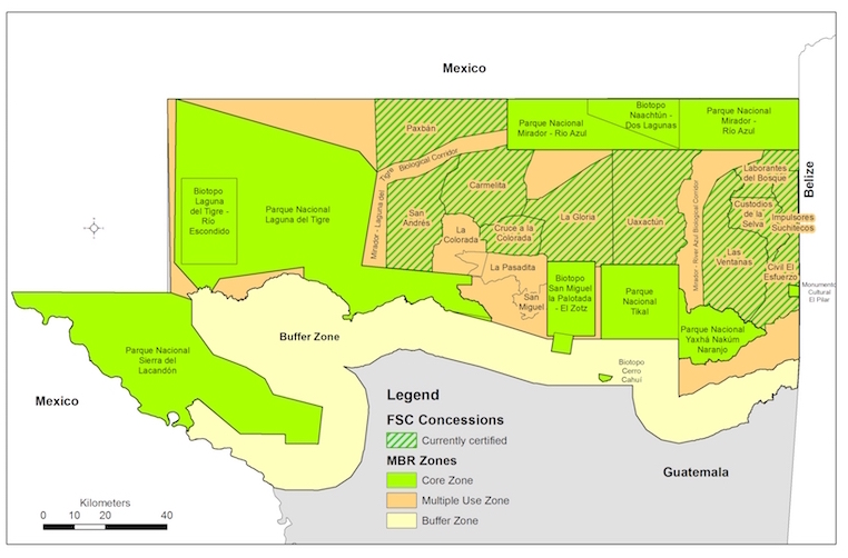 A map shows active community forest concessions certified by the Forest Stewardship Council (FSC), three failed community forest concessions, and other land-use zones in Guatemala's Maya Biosphere Reserve. Map courtesy of the Rainforest Alliance.