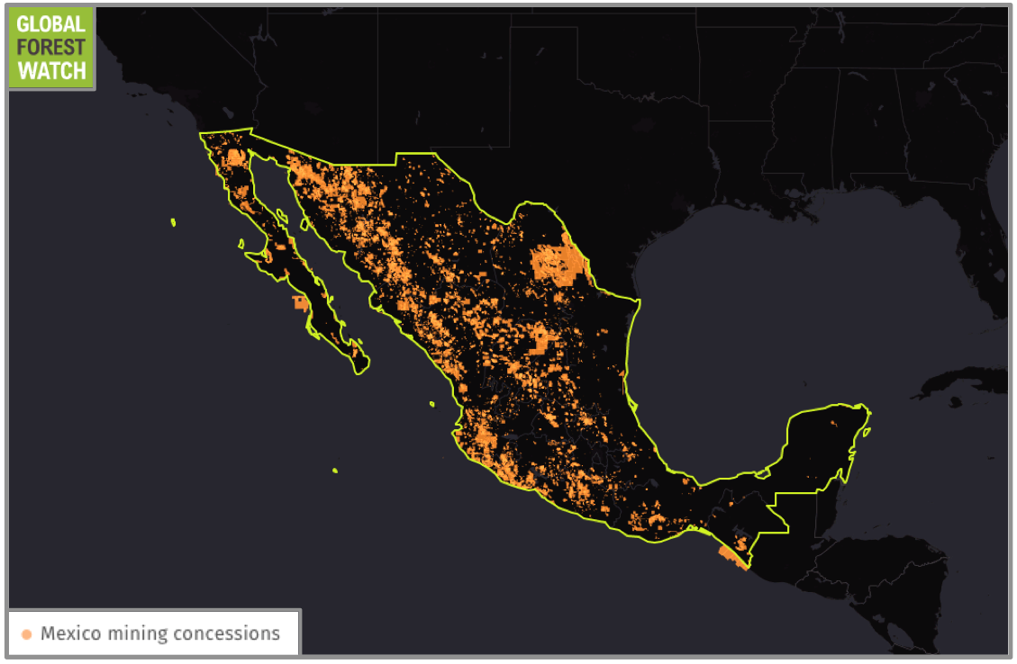 "More than 18 percent of Mexico's land area has been allotted for mining activities. Data from Secretaria de Economia. ""Mexico mining concessions."" Accessed through Global Forest Watch on 08/05/16."
