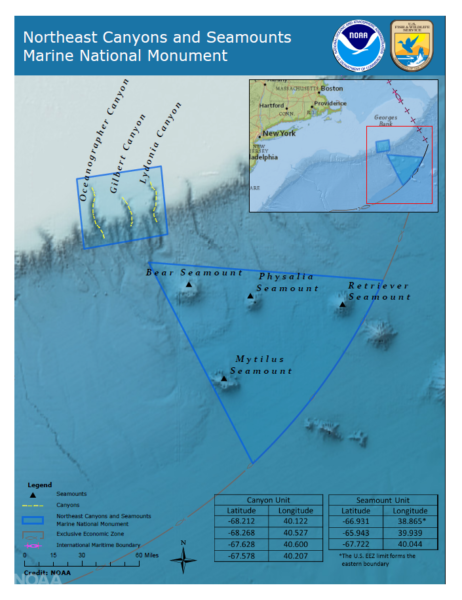 Map of the Northeast Canyons and Seamounts Marine National Monument, by National Oceanic and Atmospheric Administration.