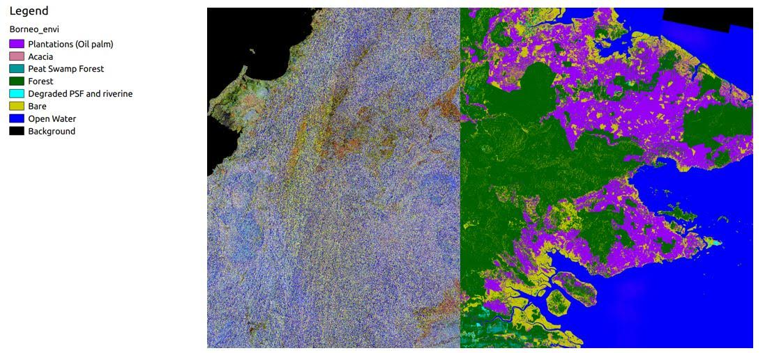An image of Sabah, Malaysia, demonstrates Starling's radar capability. The left side shows untreated radar images, the right side the land-cover classification extracted from radar. ©SarVision 2016