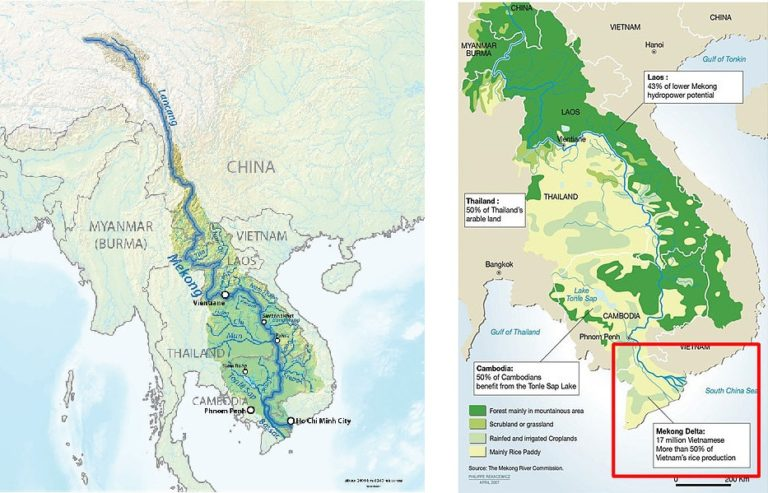 Left: The Mekong River and its watershed. The river originates in the Tibetan Plateau of China, where it is known as the Lancang River; it then proceeds through Myanmar, Thailand, Laos, Cambodia and Vietnam. Right: The lower Mekong basin. The river empties into the South China Sea. Images courtesy of Wikipedia and Penprapa Wut/Wikimedia Commons
