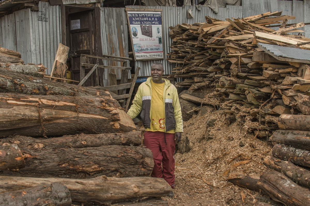 Professional wood cutter Endale Mitku hopes to own his own sawmill someday. Photo by Maheder Haileselassie Tadese for Mongabay