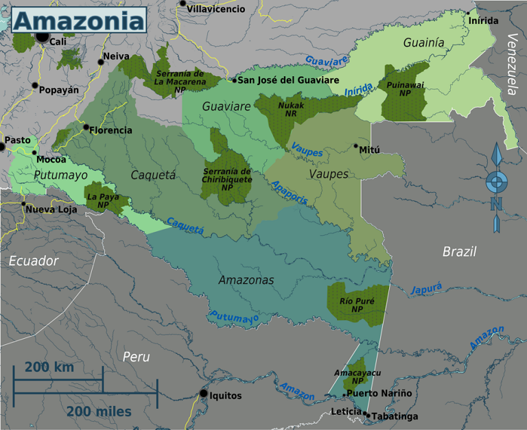 Regions of the Colombian Amazon. Map by Peter Fitzgerald, OpenStreetMap