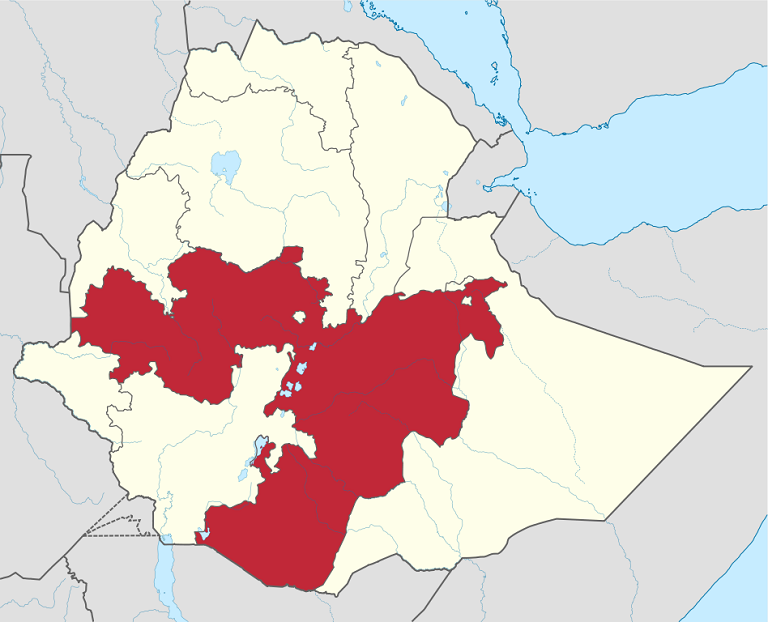 The Oromia region (in red) in Ethiopia covers over 34 percent of Ethiopia's landmass. Map via Wikimedia Commons/TUBS
