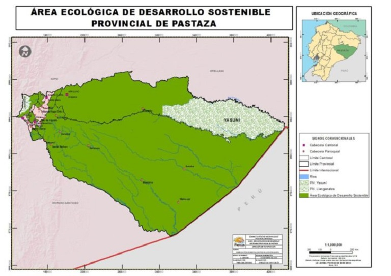 The Pastaza Ecological Area of Sustainable Development. Map courtesy of the Provincial Council of Pastaza