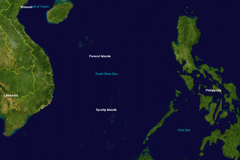 Fig 1. The Spratly Islands are located in the southern portion of the South China Sea.