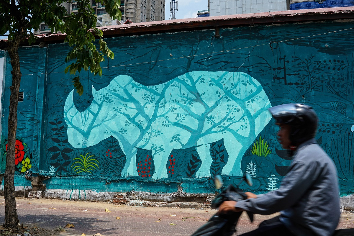 A graffiti picture that is part of a campaign to save the rhino in Ho Chi Minh City, Vietnam. Photo by Michael Tatarski for Mongabay.