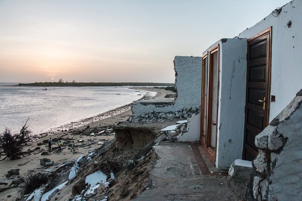 Remnants of rooms from the Tana River Lodge after erosion washed them in to the Tana River Delta, in Kipini, Kenya. Photo by Nathan Siegel for Mongabay.